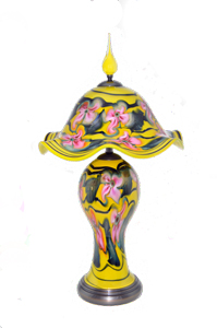 Charles Lotton- Mandarin Yellow Lamp with Pink Multi Flora Decor