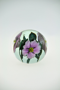 Scott Bayless- Crystal Paperweight with Lavender Hibiscus Blossoms